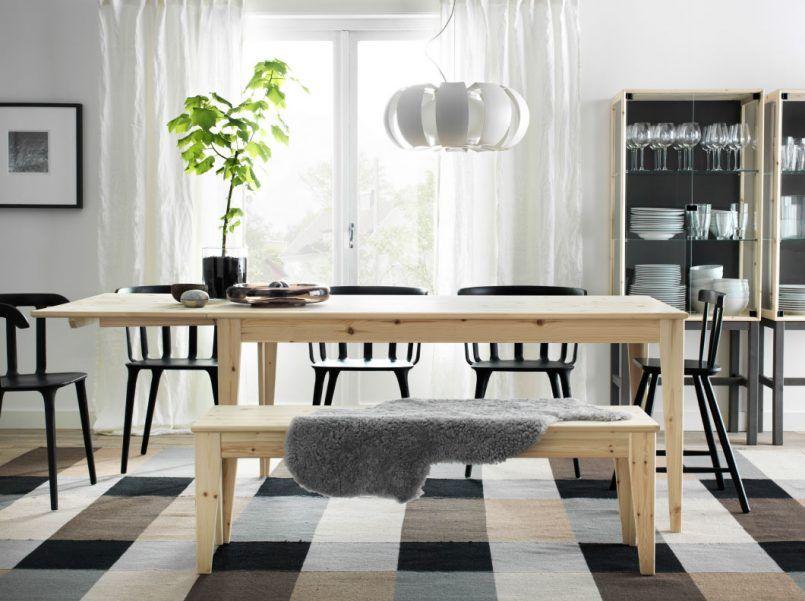 Dining Room Plaid Carpet Pine Dining Table Grey Mat Black Stool Bar Pendant  Flower Vase Green