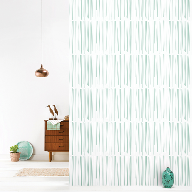 Roomblush behang wallpaper rain pastelgreen behangpapier woonkamer ...