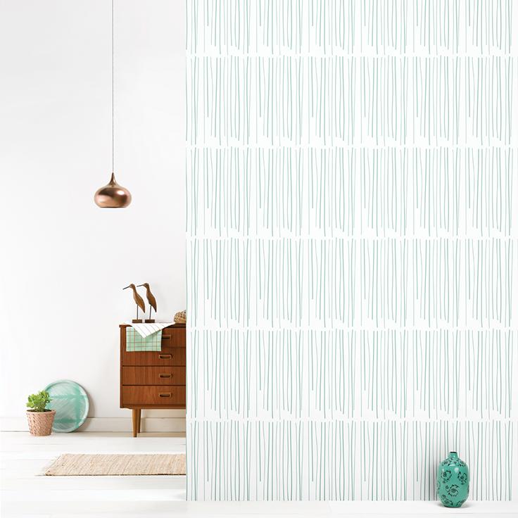 roomblush behang wallpaper rain pastelgreen behangpapier woonkamer slaapkamer interieur design muurdecoratie
