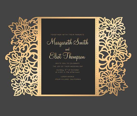 Floral Laser cut Wedding invitation, 5x7 Gate fold Card Template - fresh invitation dalam bahasa inggris