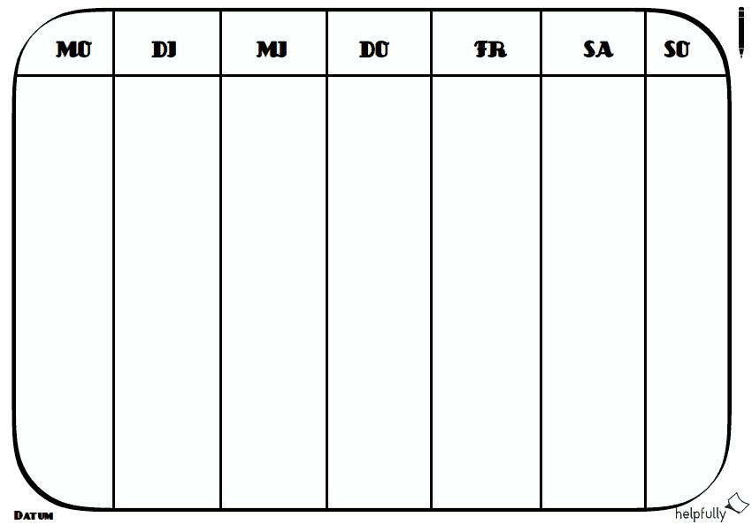 Wochenplaner Simpel Montag Bis Sonntag In 2020 Wochenplan Planer Planer Vorlagen