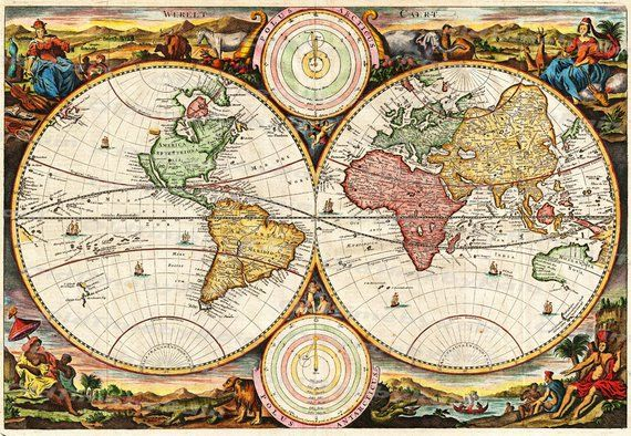 Vintage Old World Map Image Download Retro Style Design Resource
