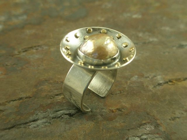 New Mexican handcrafted one of a kind sterling silver, 22k. gold and fresh water pearl statement adjustable ring at adornedbylonnie.com