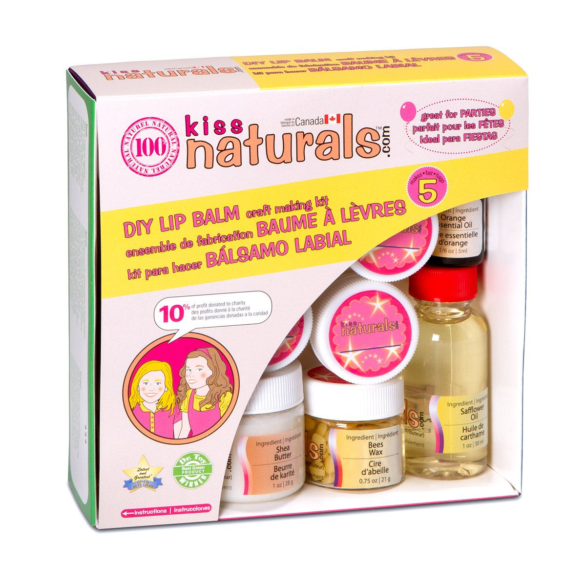 Kiss Naturals All Natural Lip Balm Making Kit Mini. 12