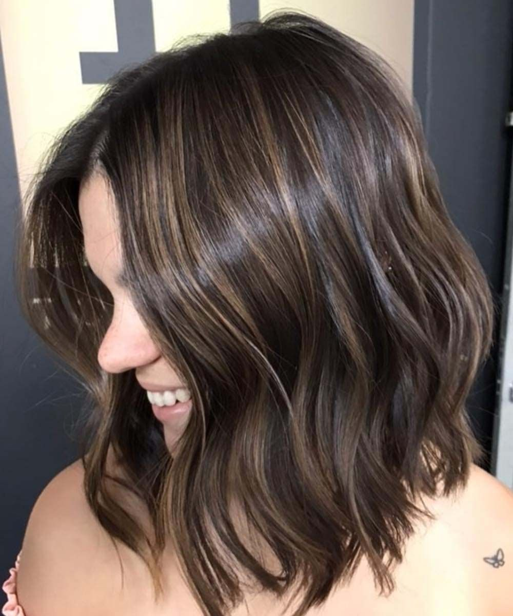 angled bob with partial highlights 2019 | trendy colours for