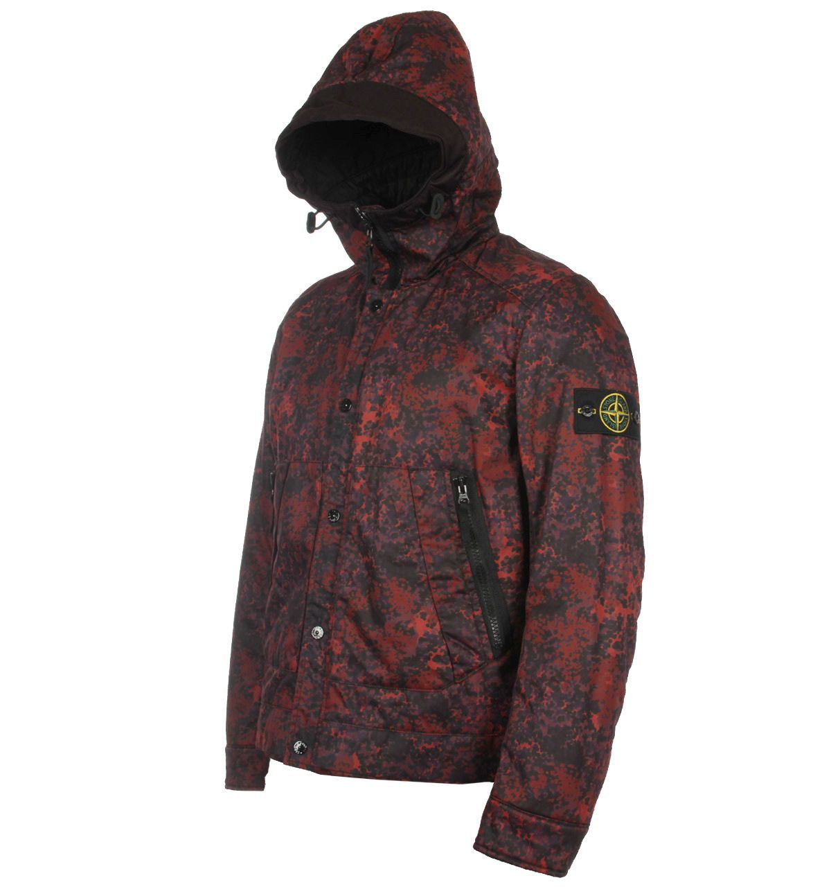 5f4f80744aa9f Stone Island Raso Gommato Camo Print-OVD Red & Black Hooded Jacket ...