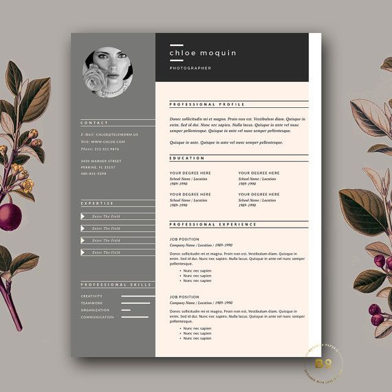 elegant resume template 3 page cv template free cover letter template for ms word iwork pages instant digital download botanicapaperieshop - Iwork Resume Templates