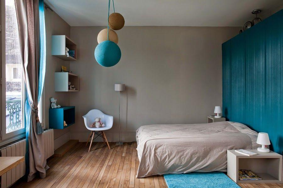 chambre en bleu et lin deco chambre