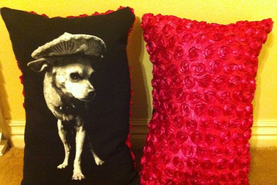 14 by 20 in. Peewee pillow. Black/hot pink. by Peeweetrespatas, $25.00