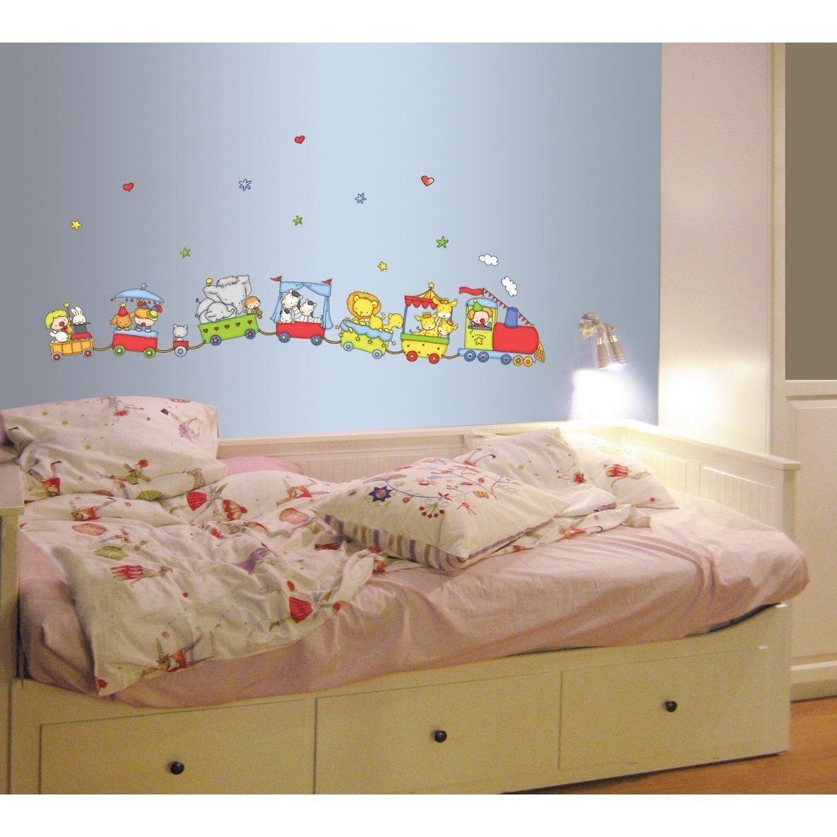 Bedroom wall decoration for kids - Kids Bedroom Flying Train Ideas On Blue Wall For Kids Bedroom Kids Room Design With Wallpaper Ideas Interior Design Giesendesign