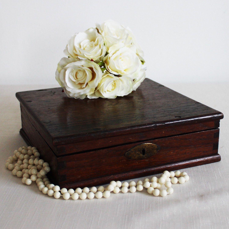 Antique wooden box large decorative box vintage memory