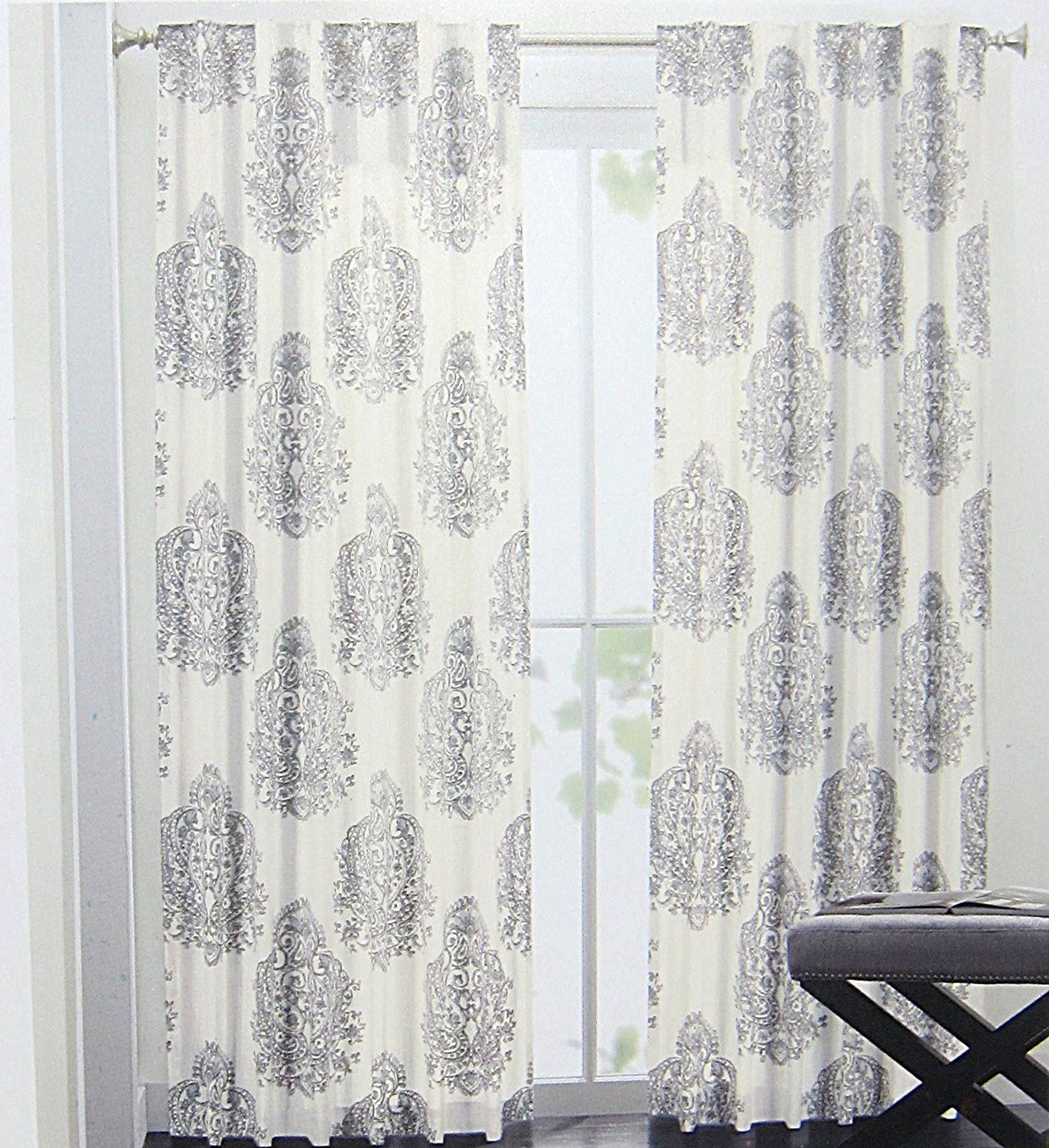 Nicole Miller Medallion Pair Of Curtains In Grey Cream Ash Gray Colors  Medallion Print China Paisley