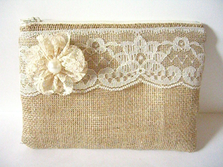 Burlap And Lace Pouch - Burlap Makeup Pouch - Burlap Clutch Bag - Bridesmaid Gift - Lace Bag - Makeup Bag - Rustic Clutch - Bridal Gift by SewSouthwest on Etsy