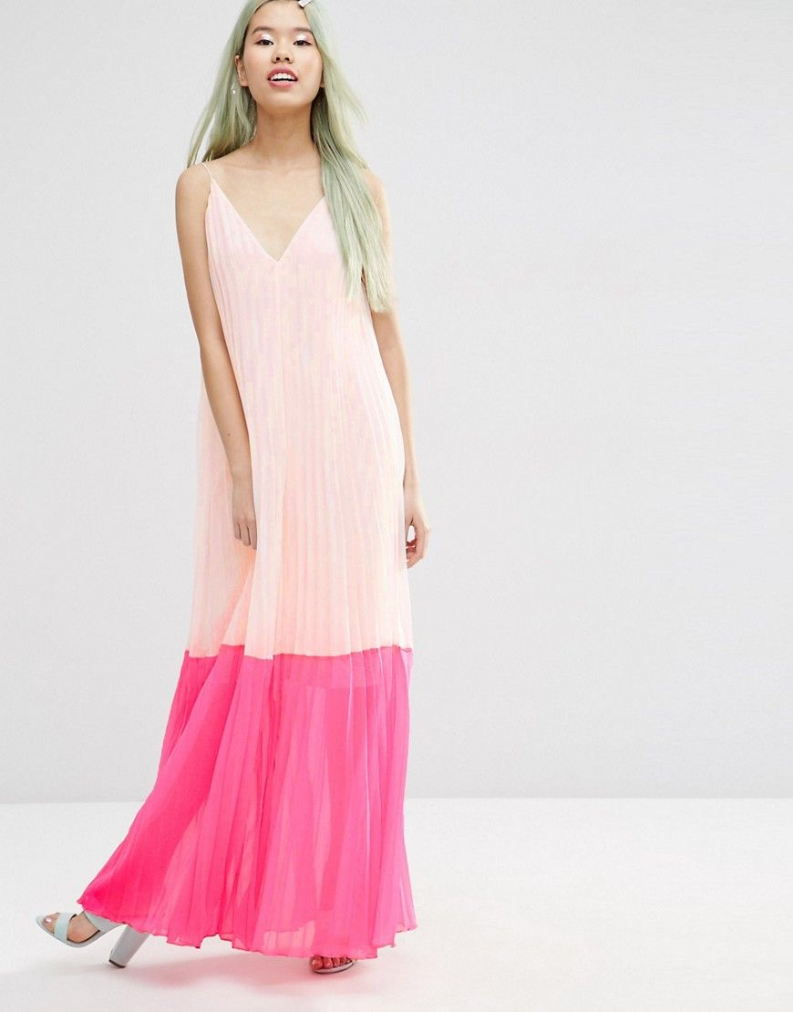 Image 1 of ASOS Pleated Color Block Maxi Dress | Dresses | Pinterest ...
