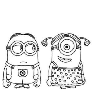 Minion Couple Despicable Me Coloring Pages Printables Pinterest