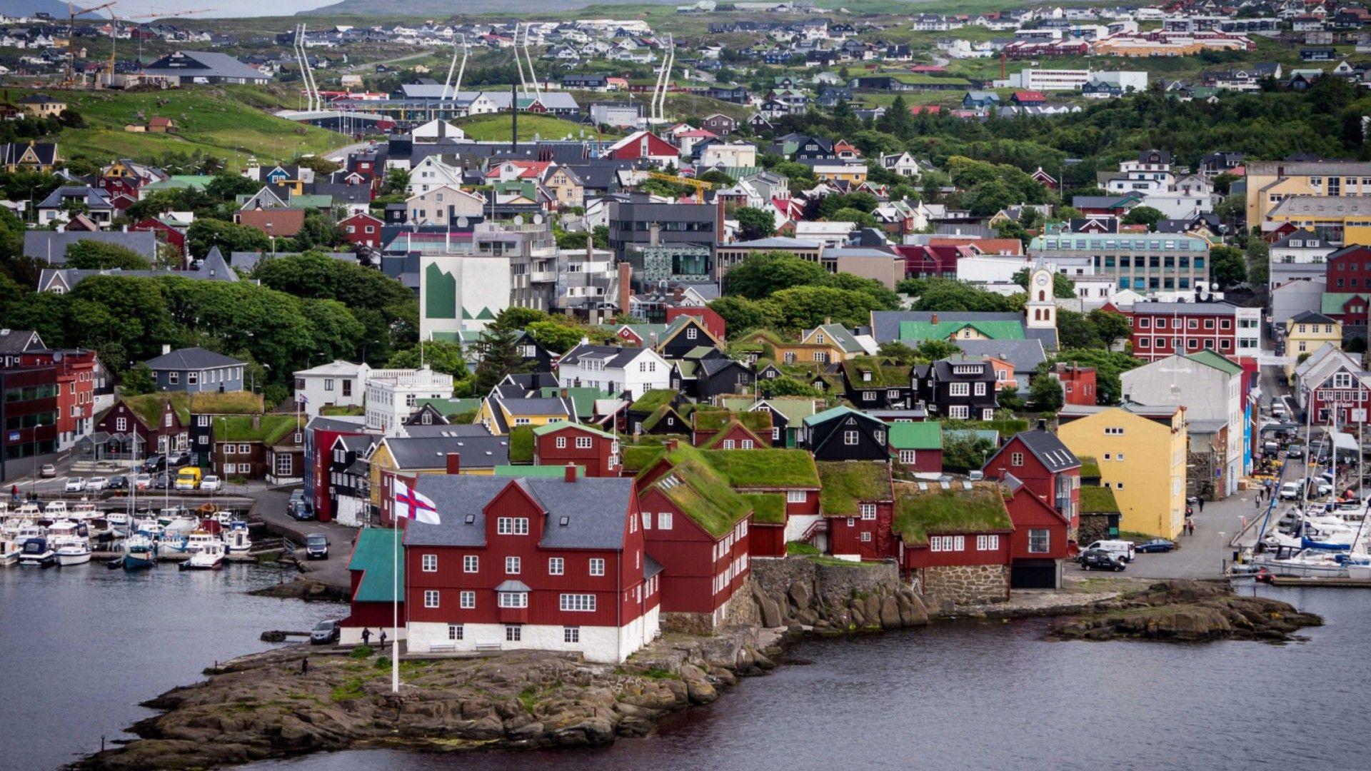 Houses Torshavn City Faroe Islands Marina Bay Boats Island