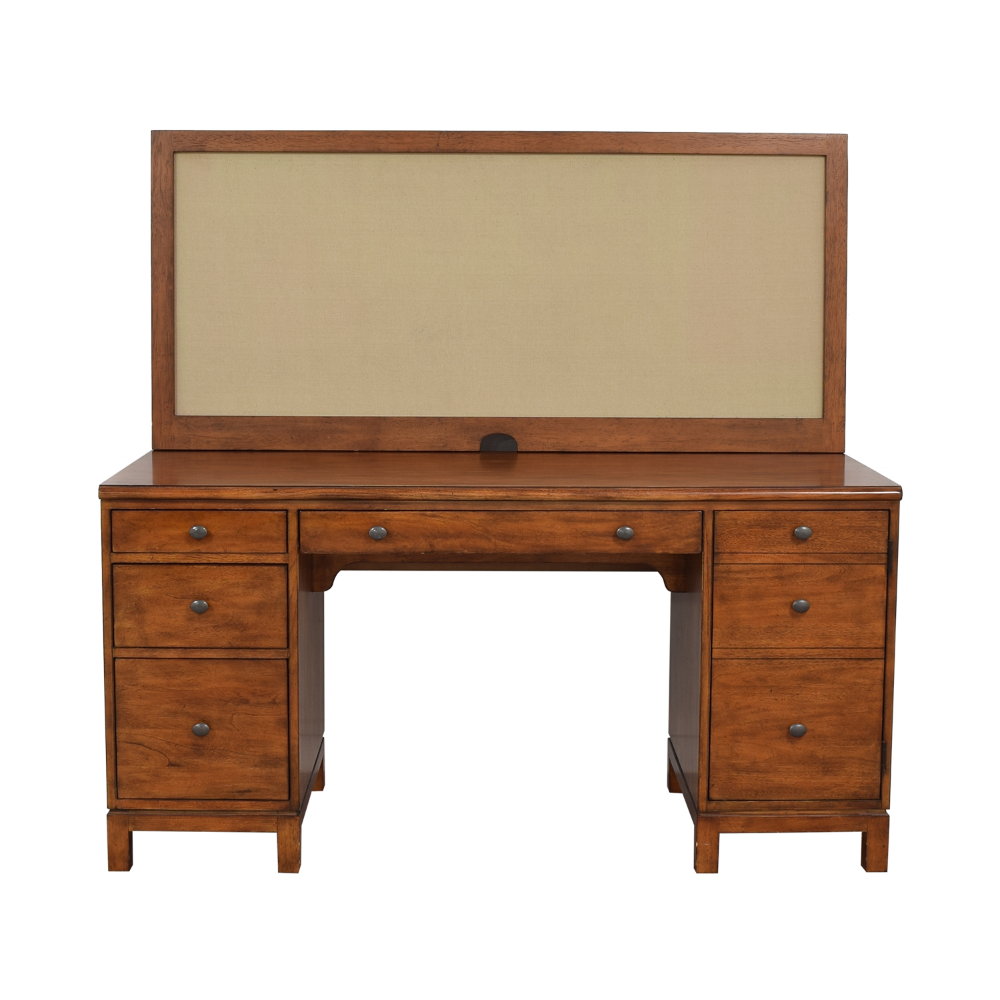 73 Off Ethan Allen Ethan Allen Hawke Double Pedestal Desk With