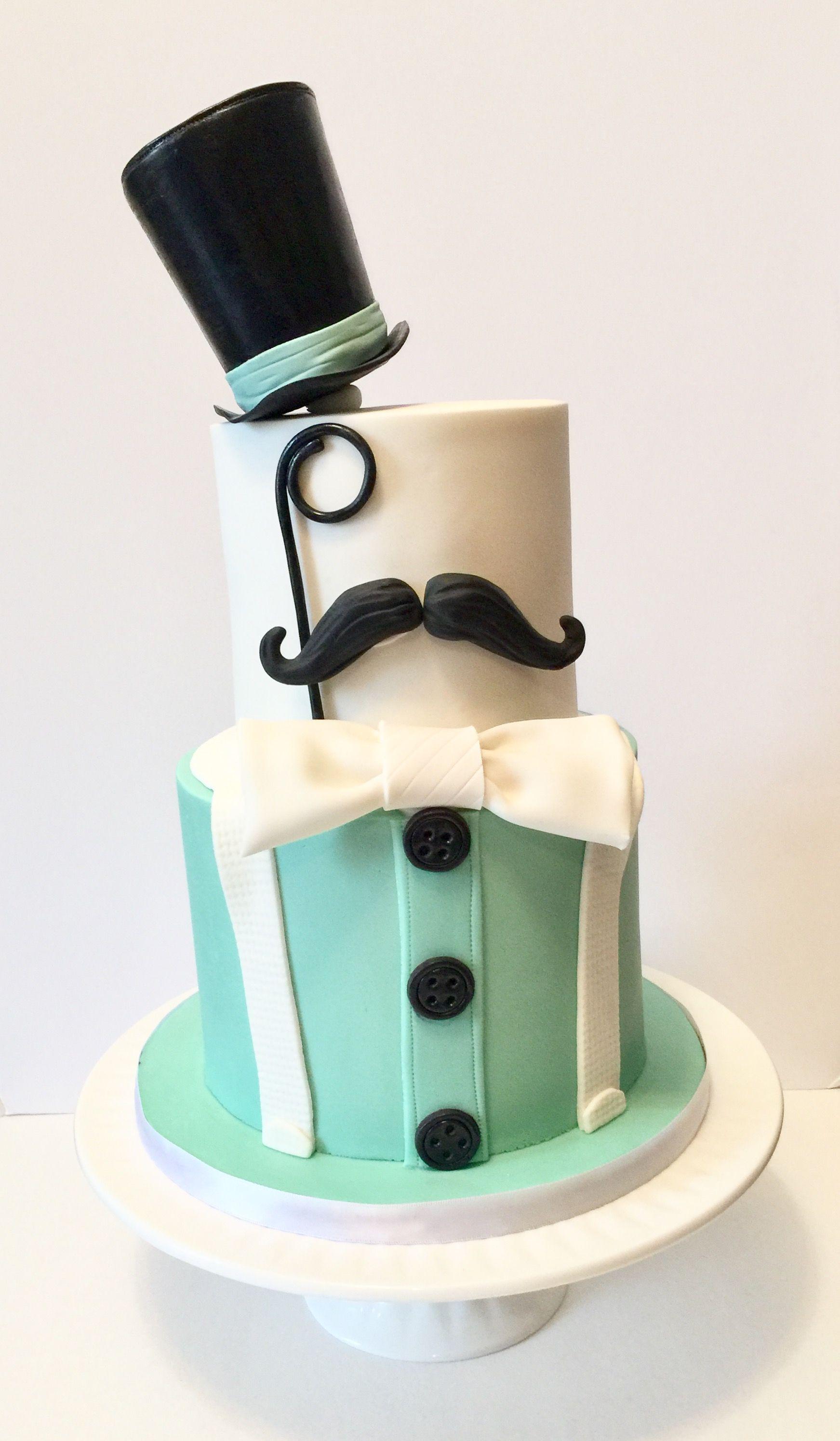 Little Gentleman First Birthday Cake Top Hat Mustache Suspenders