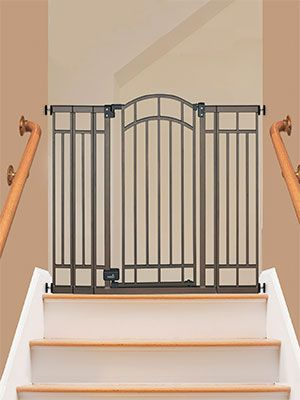 Expandable Baby Gate Sitting At The Top Of Stairs Baby Gate For Stairs Best Baby Gates Extra Wide Baby Gate