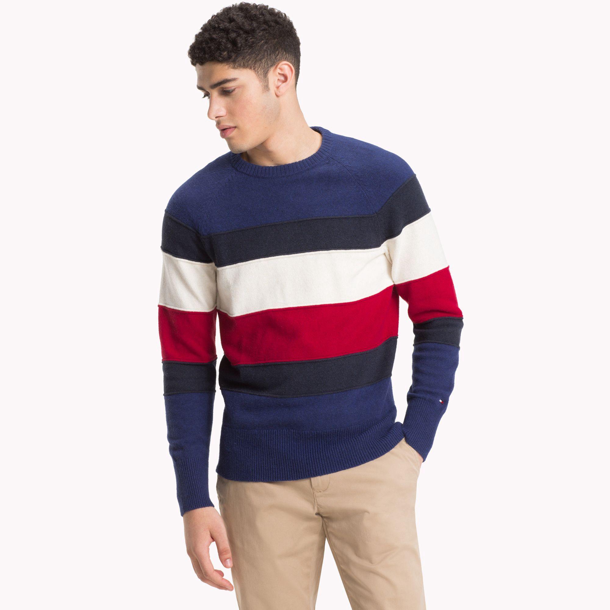Tommy Hilfiger Colorblock Stripe Sweater Quicksilver Heather L Men Sweater Mens Outfits Men S Waistcoat [ 2000 x 2000 Pixel ]