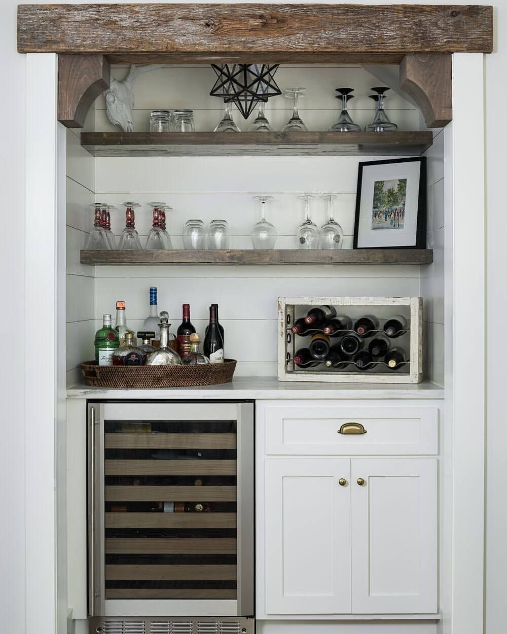 Home Bunch On Instagram This Farmhouse Bar Features Shiplap Backsplash Shakercabinets And Reclaimedwood Shelves See More Details
