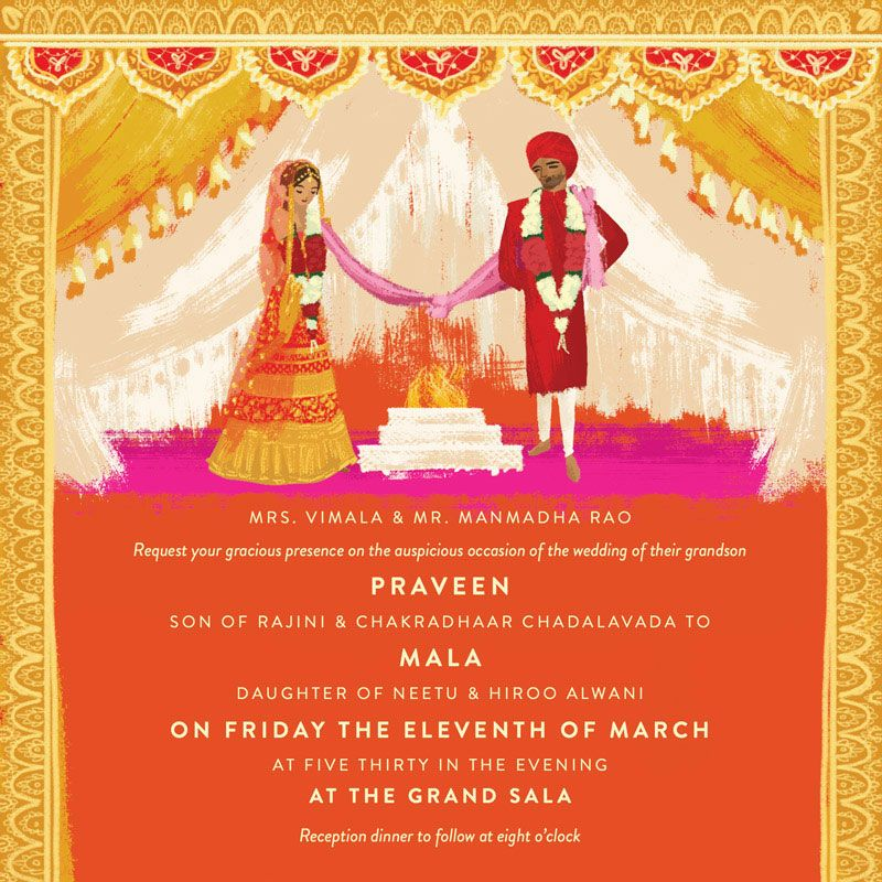 indian wedding invitation thailand wedding illustrated by Laura Shema for Jolly Edition
