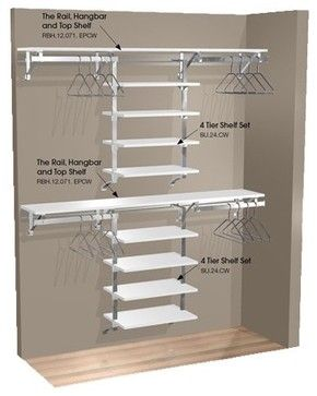 Double Hang Wall Closet With 8 Shelves Contemporary Closet Organizers