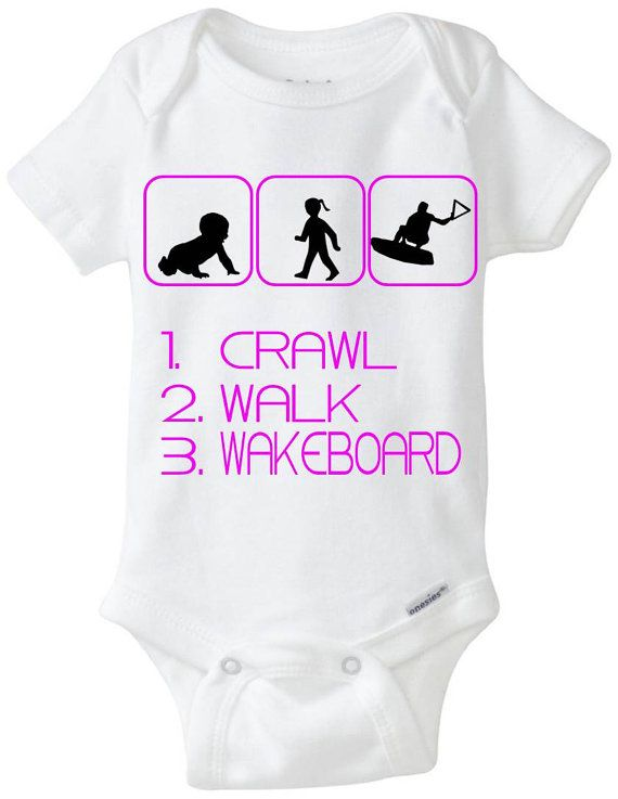 "Wakeboard Baby Gift Onesie: Great for any new parent who is a Wakeboarder or into Wakeboarding - ""Crawl Walk Wakeboard"" Shown in Hot Pink, but available in any color! Can be changed at NO CHARGE to a little boy in the middle picture. Customize by adding baby's name! Available in Preemie Sizes! Available Here: www.etsy.com/shop/LittleFroggySurfShop"