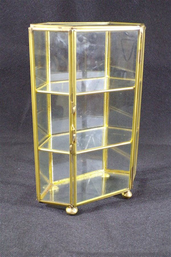 Glass Display Case Brass Vintage Miniatures Pets Perfumes Crystal