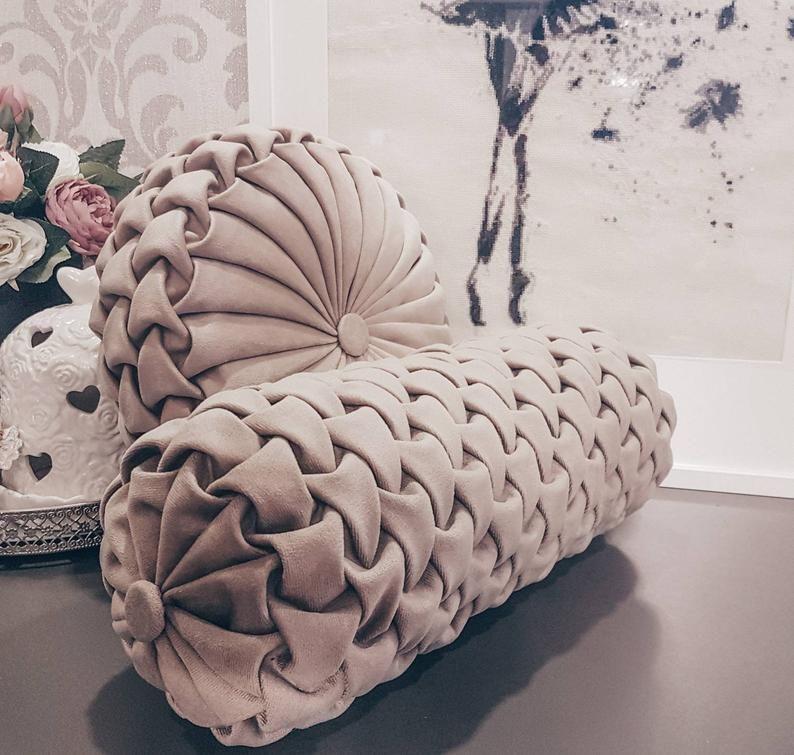 Beige color velvet bolster pillow// Handmade velvet
