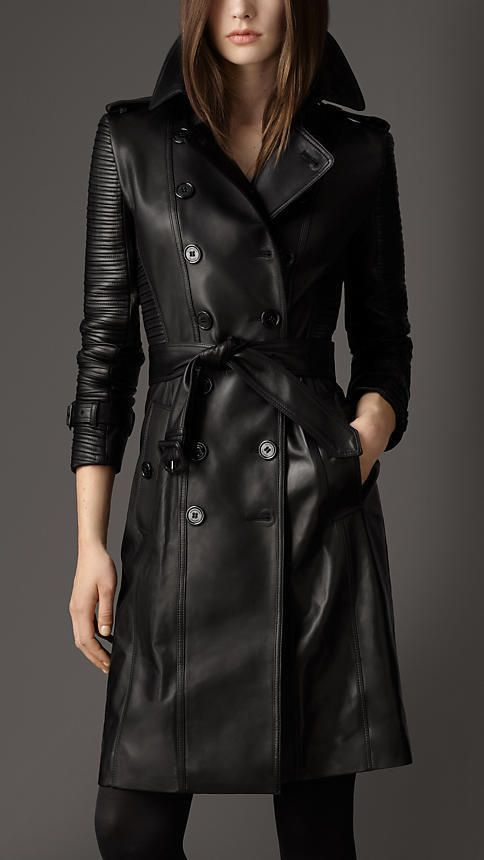 Black Leather Trench Coat for Women genuine lambskin Sizes S