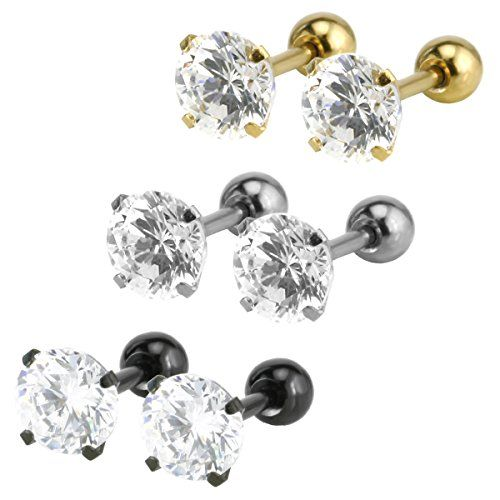 Crystal Diamante Stainless Steel Ear Tragus Cartilage Bar Piercing Earring Studs