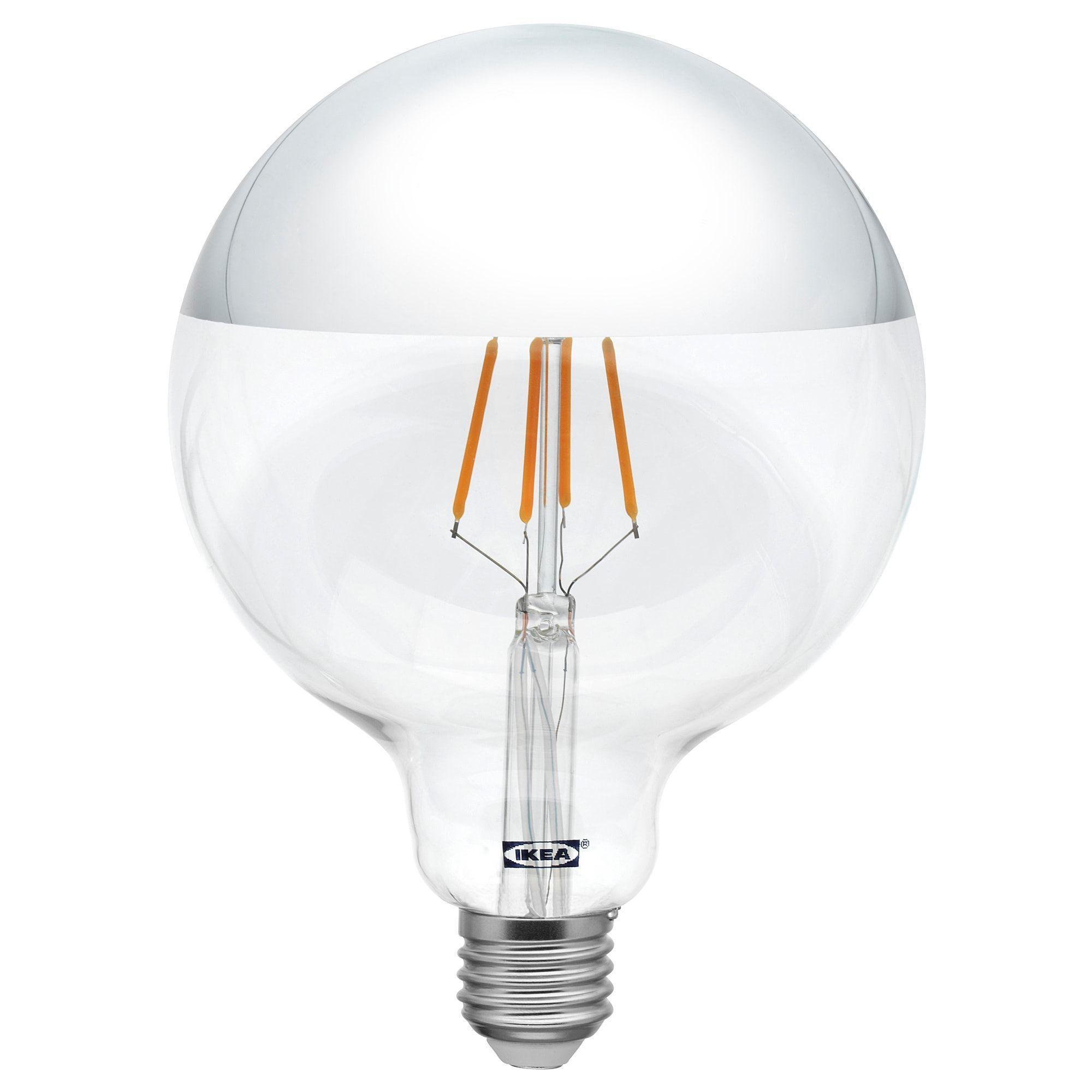 Sillbo Led Leuchtmittel E27 370 Lm Rund Kopfverspiegelt Silberfarben Ikea Deutschland Led Leuchtmittel Leuchtmittel E27 Und Leuchtmittel