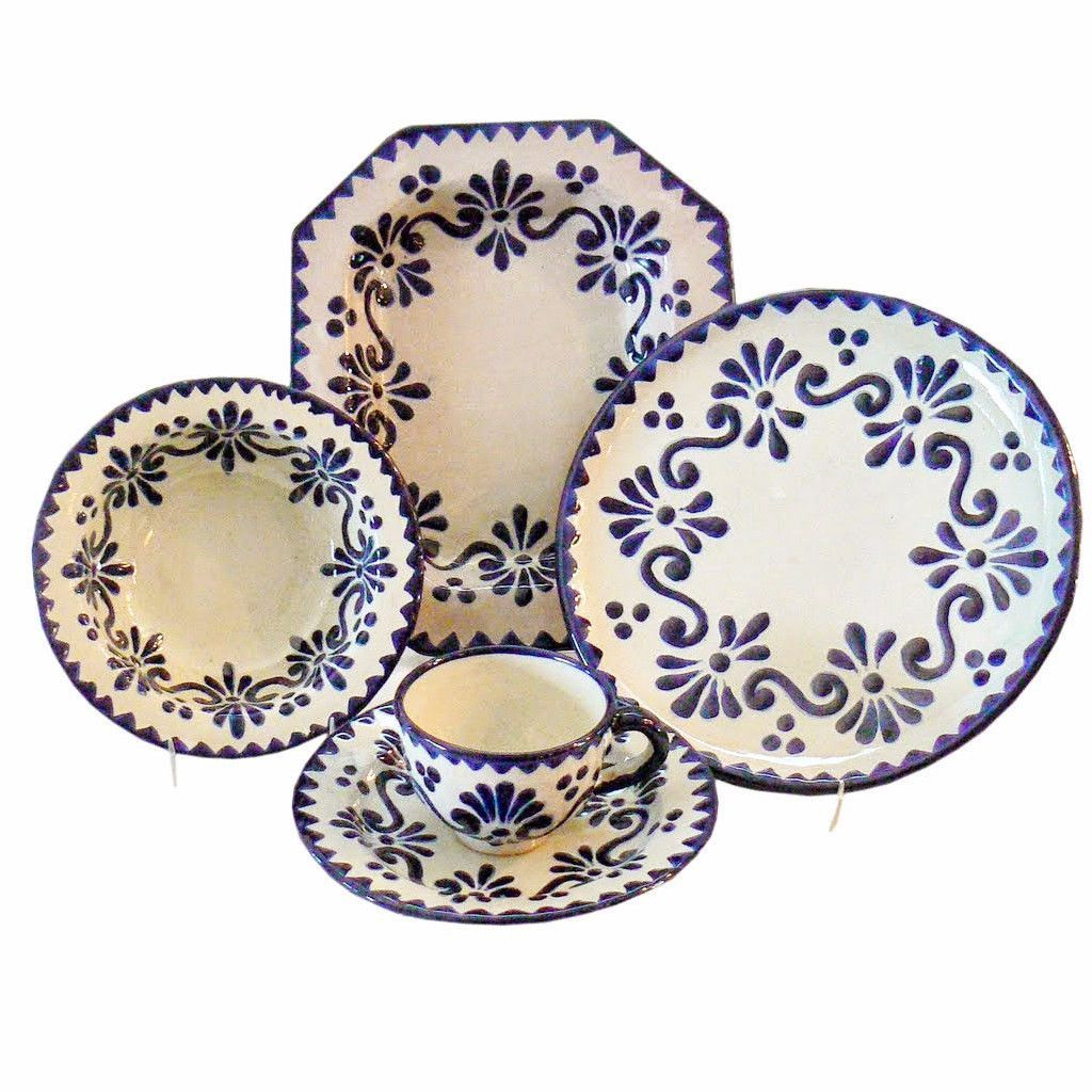 Rustica Gift Azul y Blanco Talavera Dinnerware Set Collection Clasico  sc 1 st  Pinterest & Azul y Blanco Talavera 5-Piece Dinnerware Set | Dinnerware Talavera ...