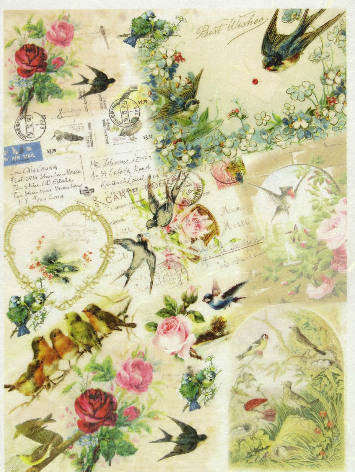 Rice Paper Vintage Small Roses for Decoupage Decopatch Scrapbook Craft Sheet