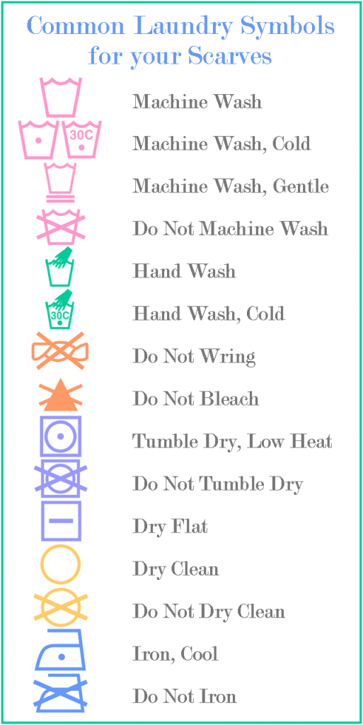 Laundry Symbols Commonly Found On Scarf Tags Wash Dry Fold