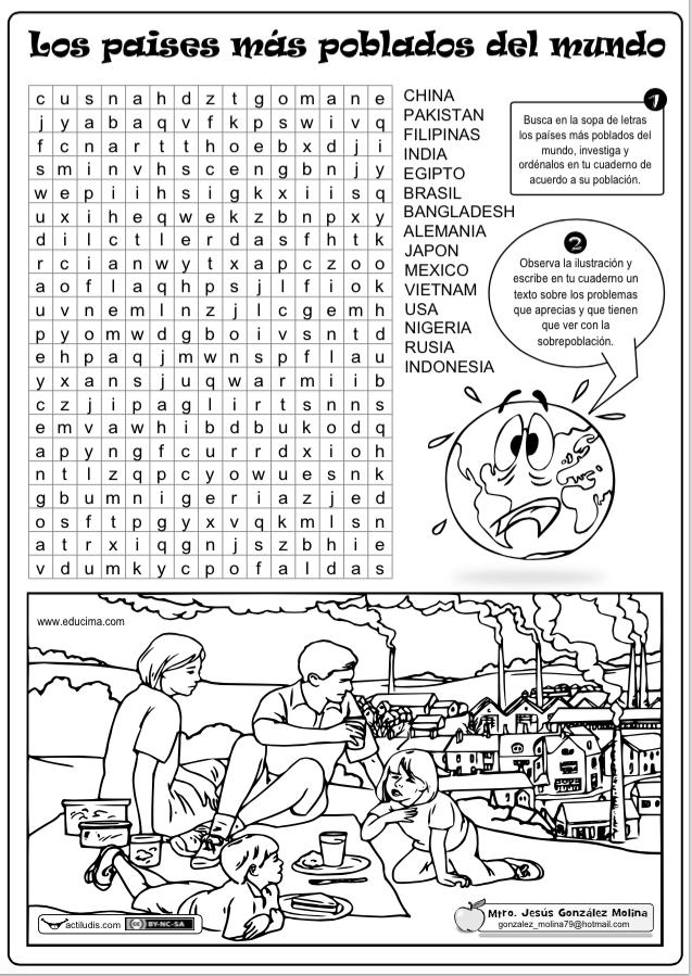 Sopa de letras y ejercicio sobre los países más poblados