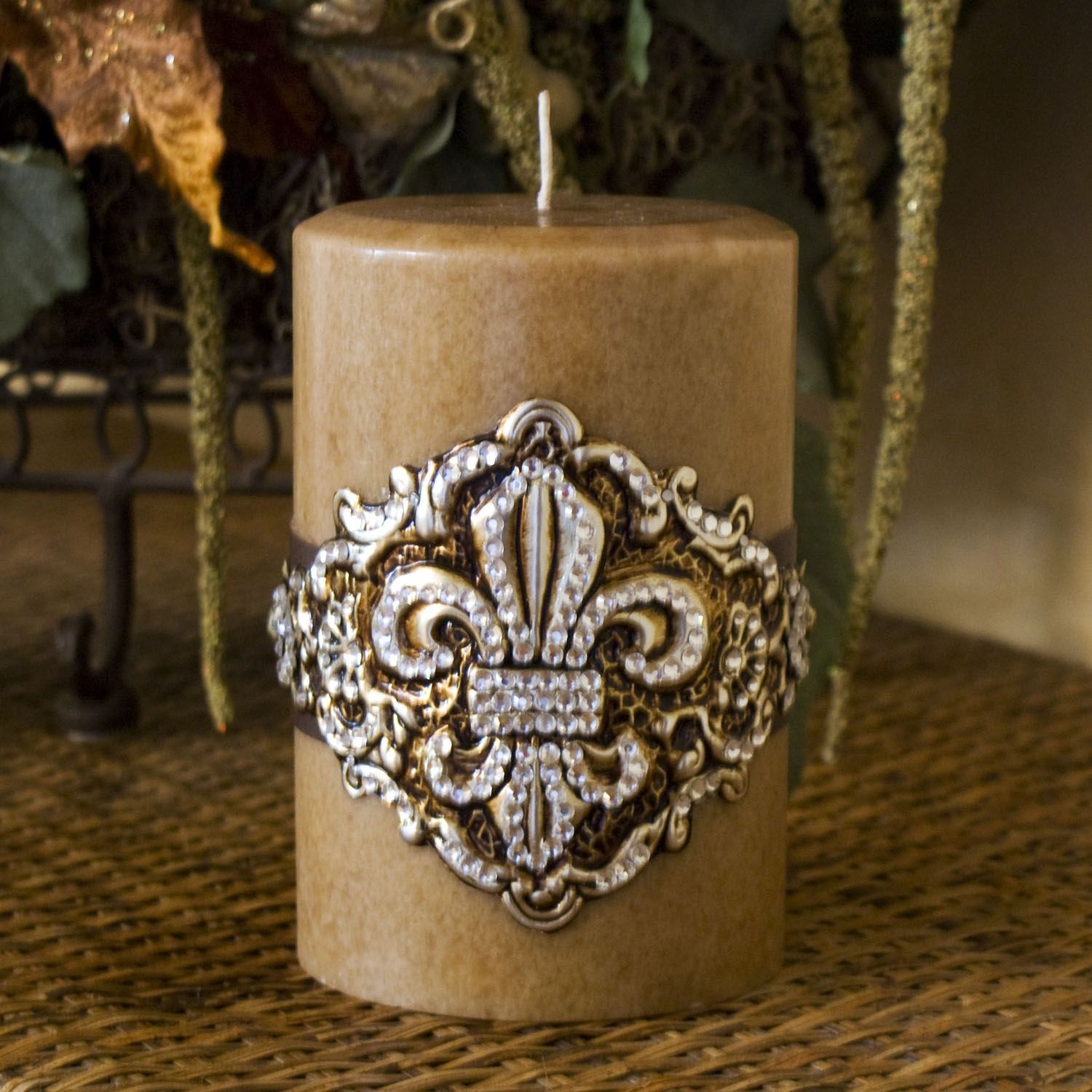 Swarovski Candle Fleur De Lis Home Decor Pillar Crystal