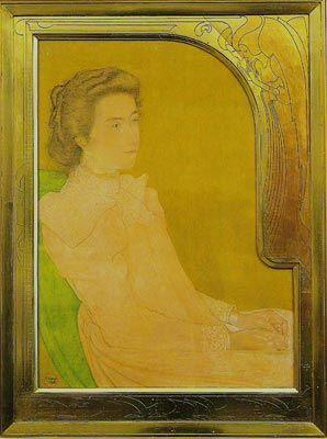 Jan Toorop, Portret van een vrouw en trois quarts - 1898