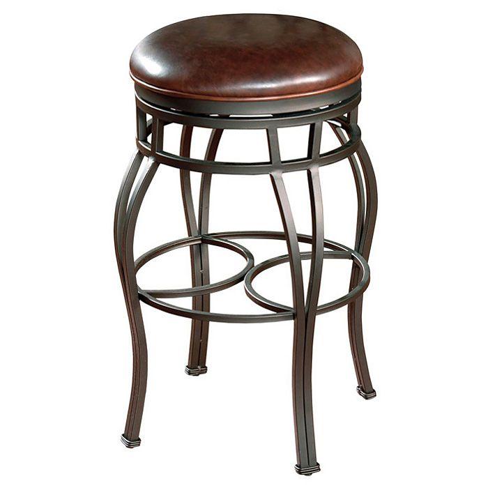 Tremendous Bella 34 Backless Bar Stool In Pepper With Bourbon Leather Inzonedesignstudio Interior Chair Design Inzonedesignstudiocom