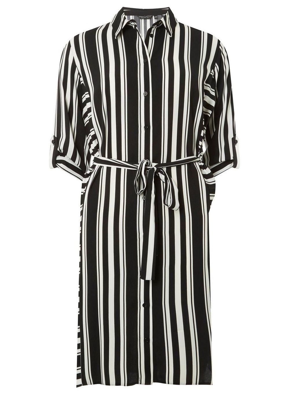 6e78c4b1285cd Black and Cream Striped Shirt Dress - View All Sale - Sale - Dorothy Perkins