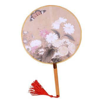 2PCS Elegant Round Hand Fan Chinese Fan Print Decor Bamboo Handle, No.5