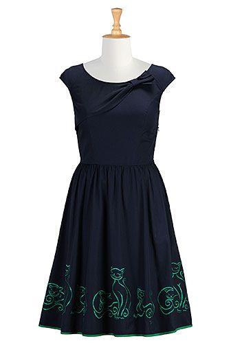 #eshakti #dresses #conversational #whimsical #embroidereddress #cats #bolero #fitandflare