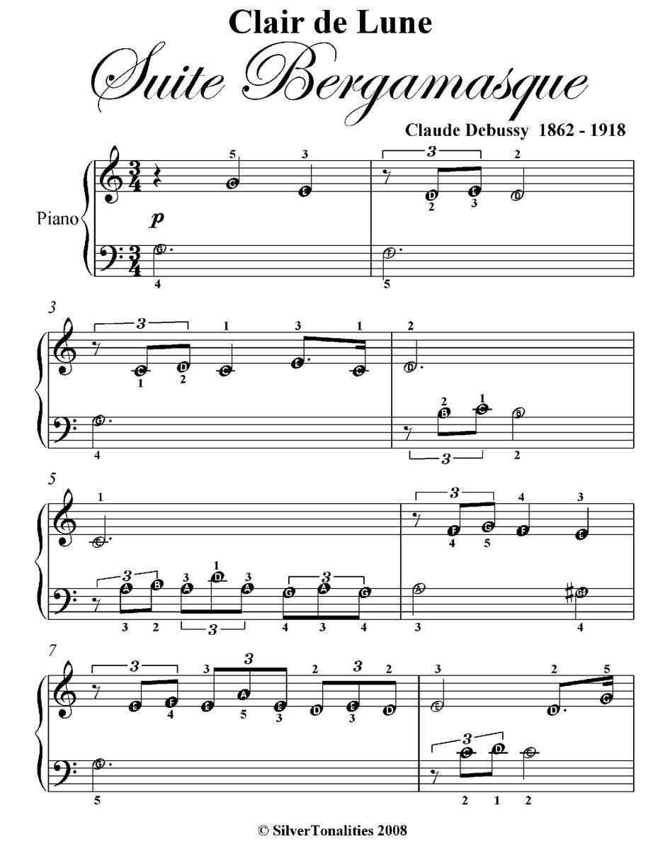 A Zclair De Lune Suite Bergamasque Beginner Piano Sheet Music