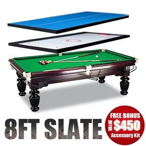 4in1 Function 8ft Slate Billiards Table Tennis Air Hockey Top