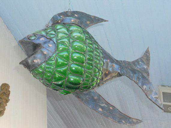Handmade Hanging Green Glass & Metal by rosiestreasuretrove