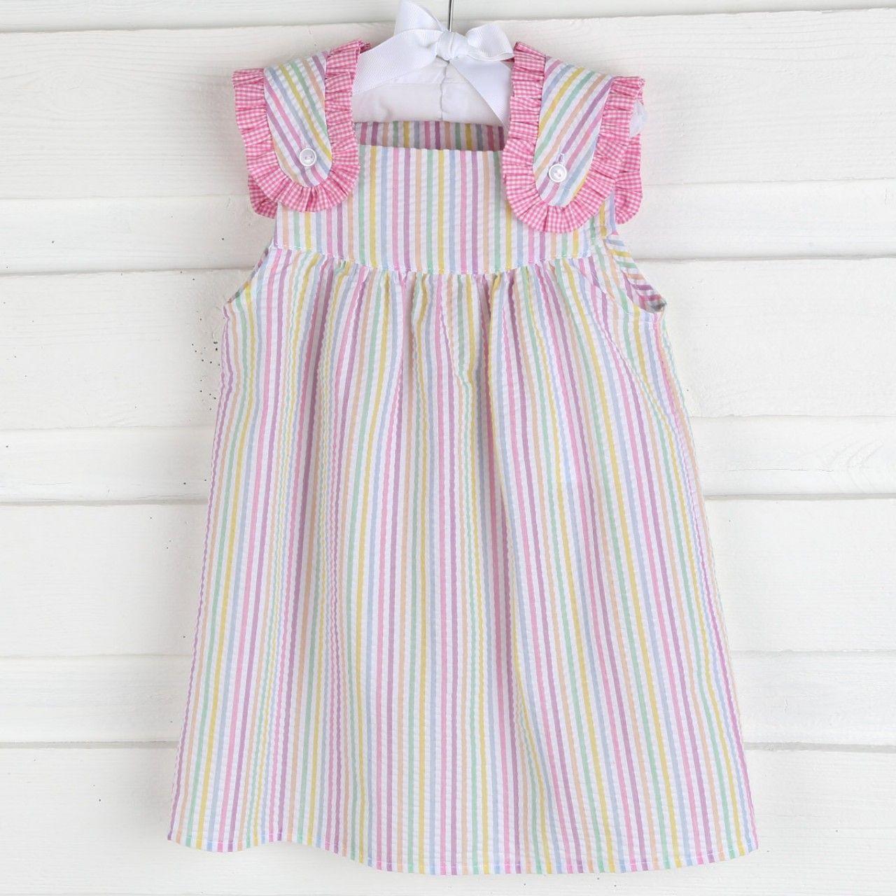 Baby pink dungaree dress  Birthday Pastel Lulu Dress Seersucker  Seersucker