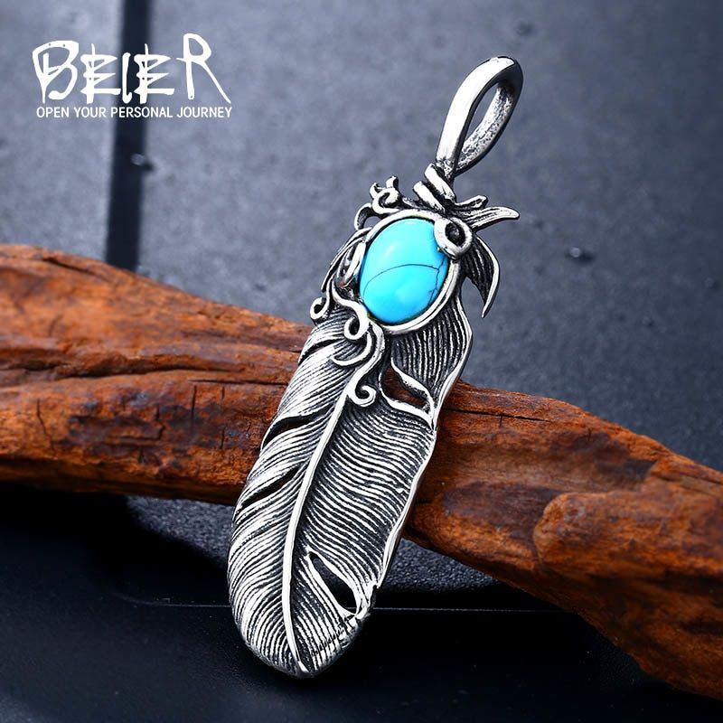 Photo of Fashion Stainless Steel Feather Pendant Necklace Leaf Jewerly With green stone for man women gift Jewelry BP8-283