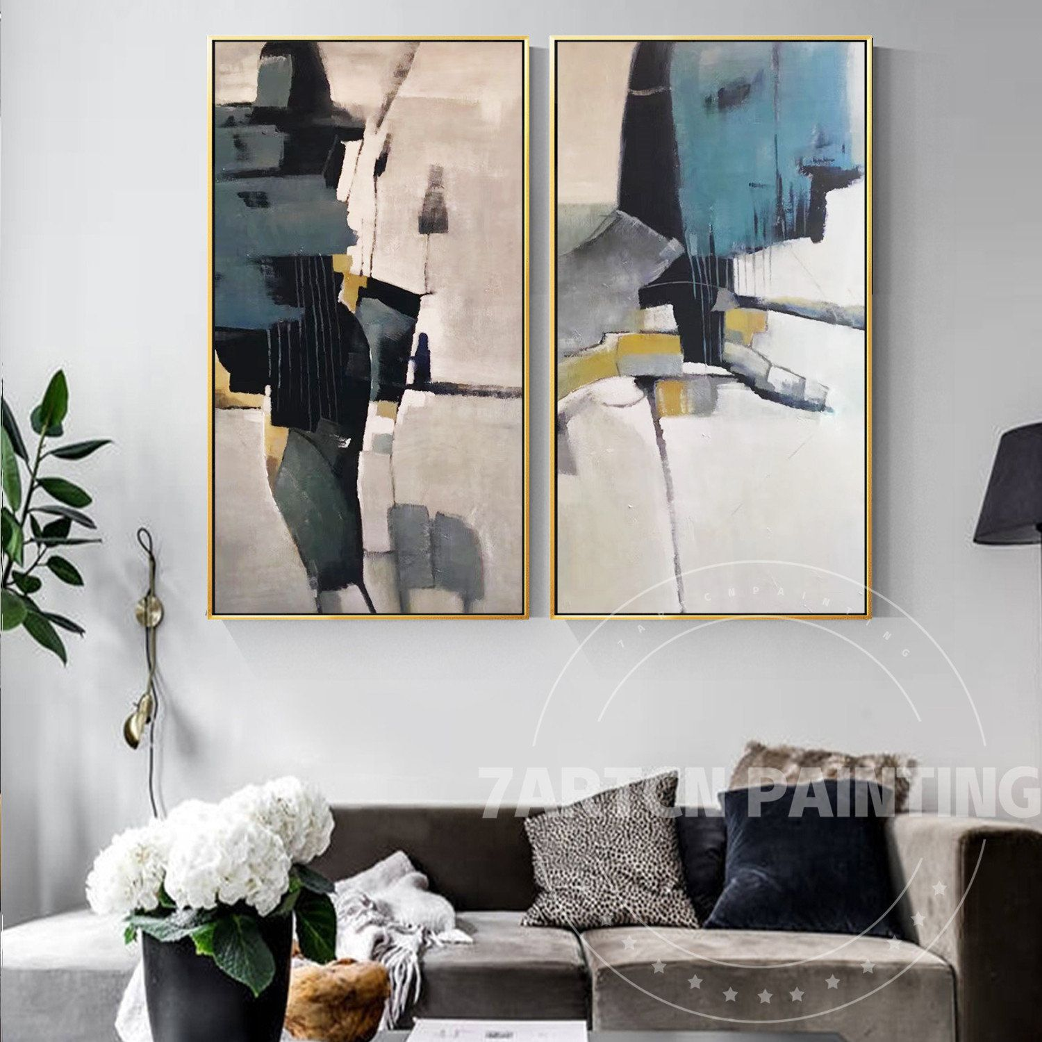 SET of 2 prints Abstract painting two piece wall art set blue gray brown Artwork for walls Large wall art for living room over the couch