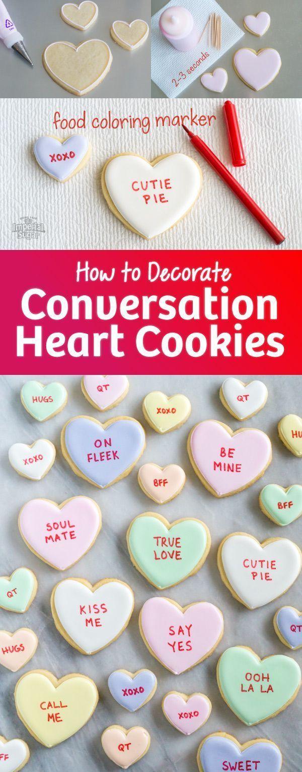 Conversation Heart Sugar Cookies | Imperial Sugar #sugarcookies